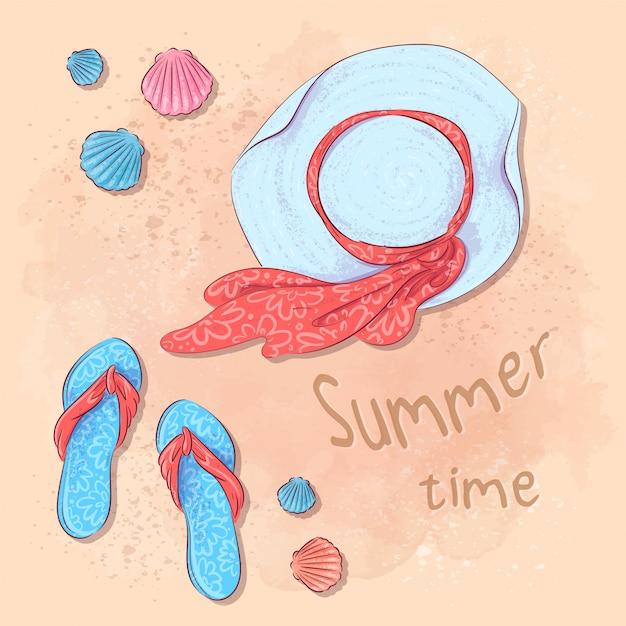 Fête estivale à la plage avec un chapeau et des ardoises sur le sable au bord de la mer. style de dessin à la main. Vecteur Premium