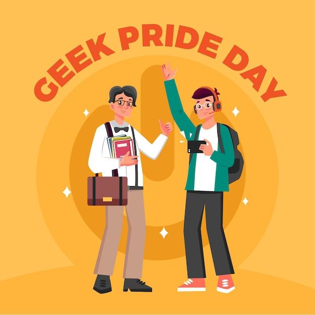 Fête De La Fierté Geek Avec Adolescent Et Homme Vecteur gratuit