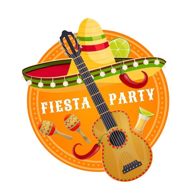 Fête De La Fiesta Mexicaine Sombrero Et Guitare Vecteur Premium