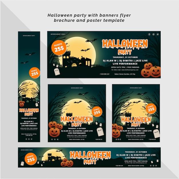 Fête d'halloween avec bannière, flyer et modèle d'affiche Vecteur Premium