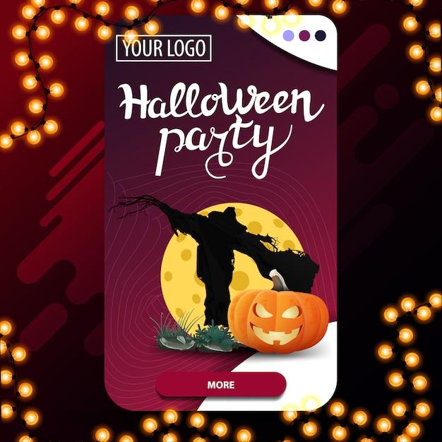 Fête D'halloween, Bannière D'invitation Moderne Verticale Avec Scarecrow Et Jack Citrouille Contre La Lune Vecteur Premium