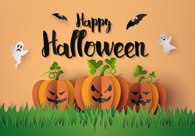 Fête d'halloween avec des citrouilles effrayantes. Vecteur Premium