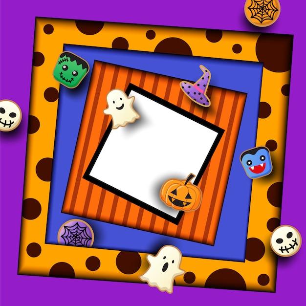 Fête d'halloween avec des cookies monstre sur violet Vecteur Premium