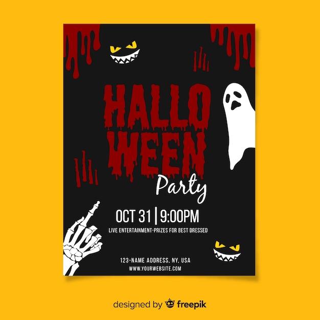 Fête d'halloween avec modèle d'affiche de sang Vecteur gratuit