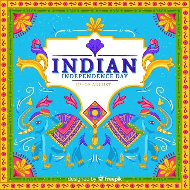 Fête de l'indépendance colorée de fond de l'inde Vecteur gratuit