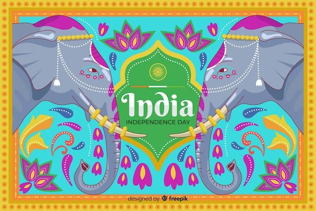 Fête de l'indépendance dans le style de l'art indien Vecteur gratuit