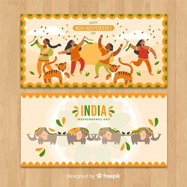 Fête de l'indépendance dessiné de la bannière de l'inde à la main Vecteur gratuit
