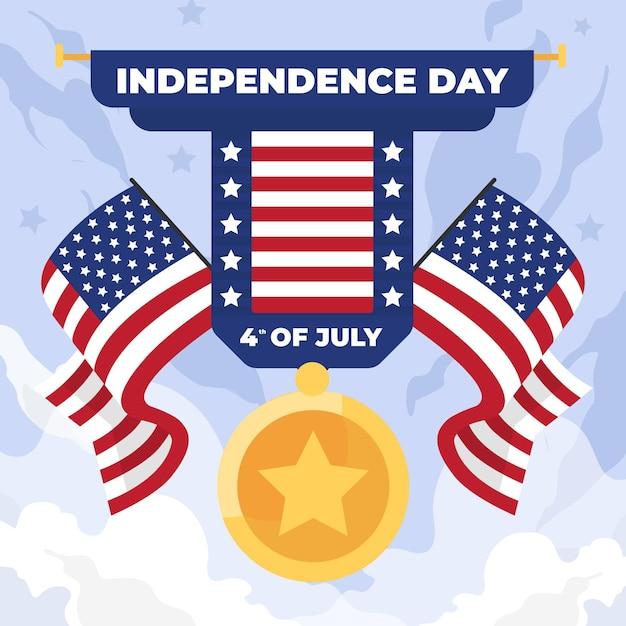 Fête De L'indépendance Avec Drapeaux Et Médaille Vecteur gratuit