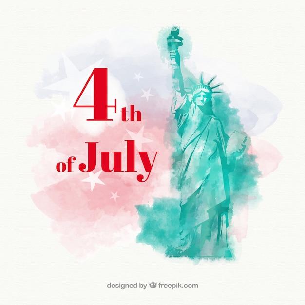 Fête de l'indépendance du 4 juillet fond aquarelle Vecteur gratuit