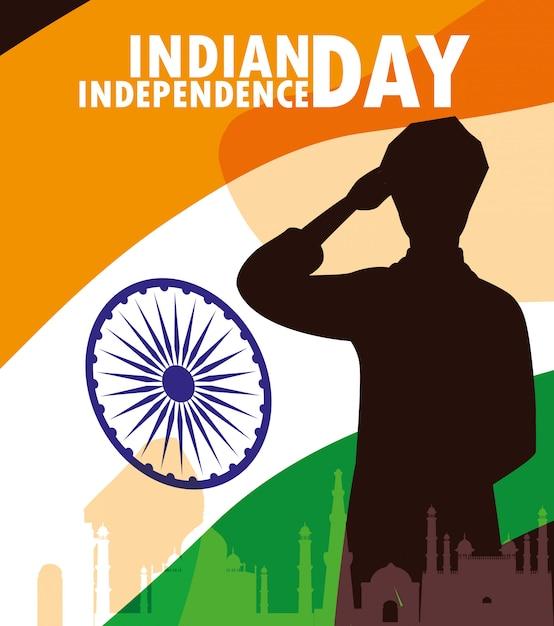 Fête de l'indépendance étiquette indienne avec et drapeau Vecteur Premium