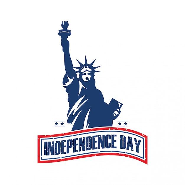 Fête De L'indépendance, Logo De La Statue De La Liberté Vecteur Premium