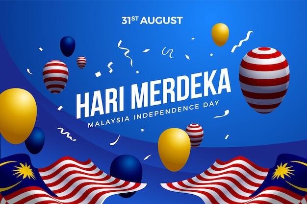 Fête De L'indépendance De La Malaisie Avec Des Ballons Vecteur Premium