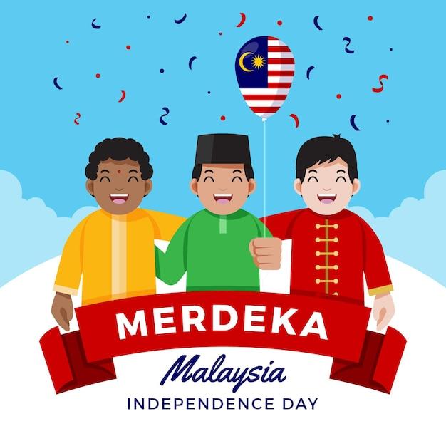 Fête De L'indépendance De La Malaisie Illustrée Vecteur gratuit