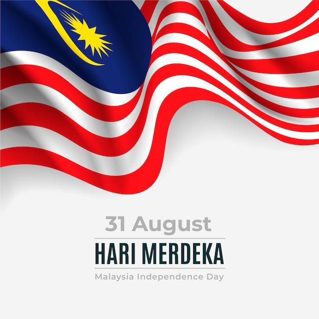 Fête De L'indépendance De La Malaisie Merdeka Avec Drapeau Vecteur gratuit