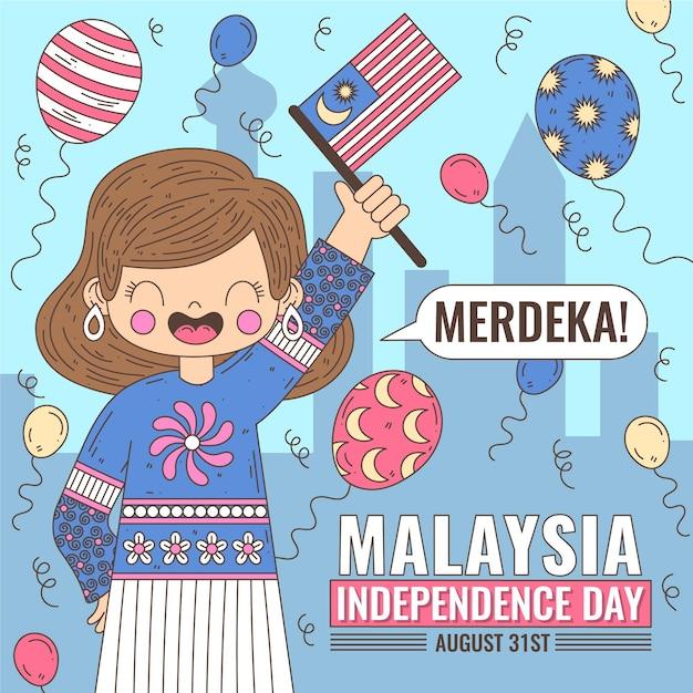 Fête De L'indépendance De Merdeka Malaisie Vecteur gratuit