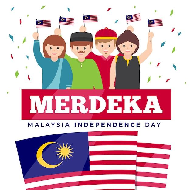 Fête De L'indépendance De Merdeka Malaisie Vecteur Premium