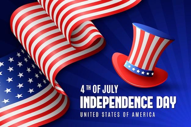Fête De L'indépendance Réaliste Avec Drapeau Et Chapeau Vecteur gratuit