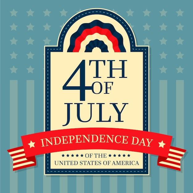 Fête De L'indépendance Avec Ruban Vecteur gratuit