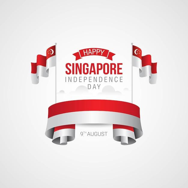 Fête de l'indépendance de singapour Vecteur Premium