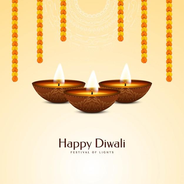 Fête Indienne Joyeux Diwali Avec Guirlande Vecteur gratuit