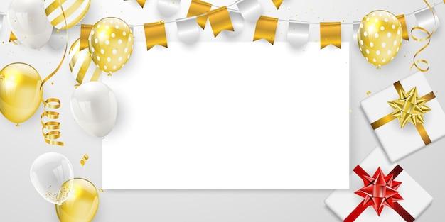 Fête de joyeux anniversaire avec des ballons d'or Vecteur Premium