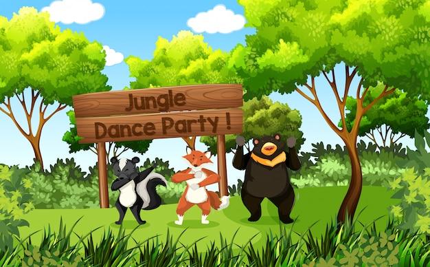 Fête de la jungle des animaux mignons Vecteur Premium