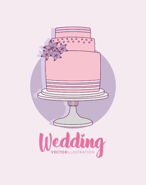 Fête de mariage avec un gâteau sucré Vecteur Premium
