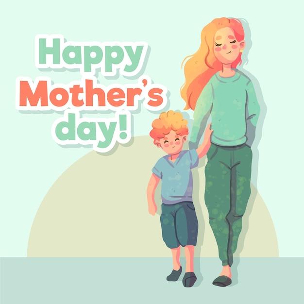 Fête Des Mères Aquarelle Avec Mère Et Enfant Vecteur gratuit