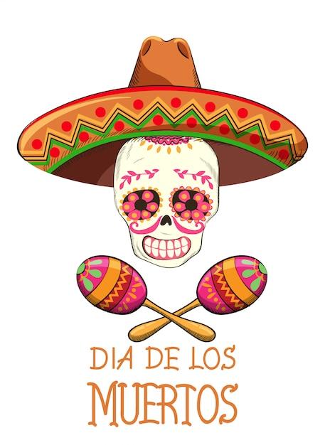Fête mexicaine du jour des morts avec décorations de fêtes Vecteur Premium