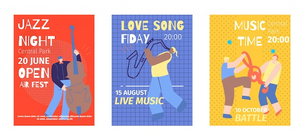 Fête de la musique set invitations plates couleur Vecteur Premium