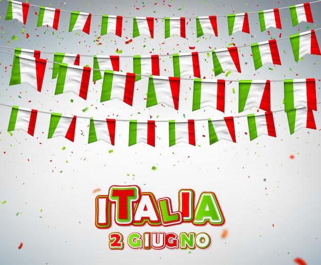 Fête nationale de la république italienne Vecteur Premium