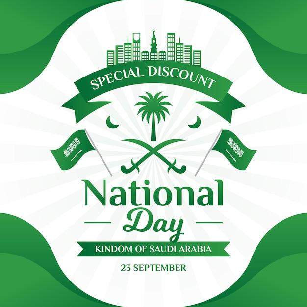 Fête Nationale Saoudienne Avec Des Drapeaux Vecteur Premium