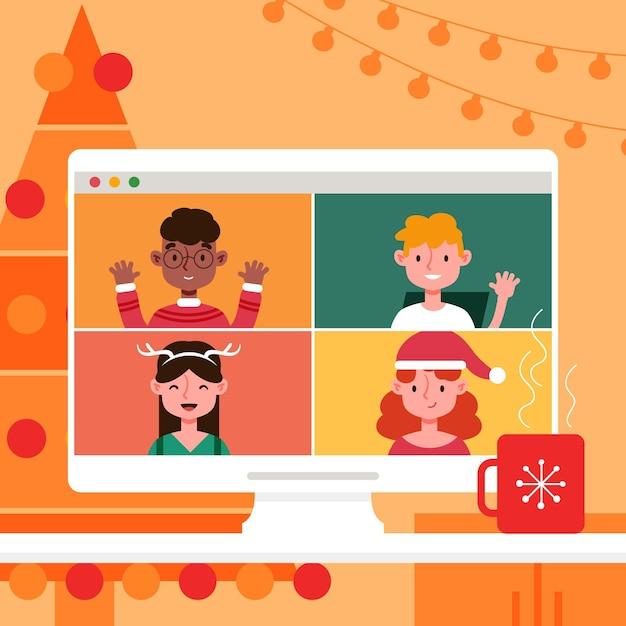 Fête De Noël En Ligne Vecteur Premium