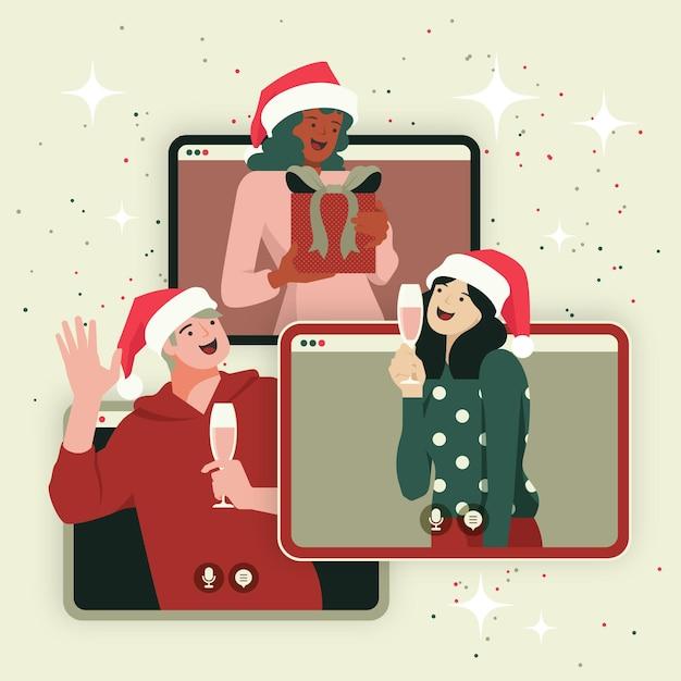 Fête De Noël En Ligne Vecteur gratuit