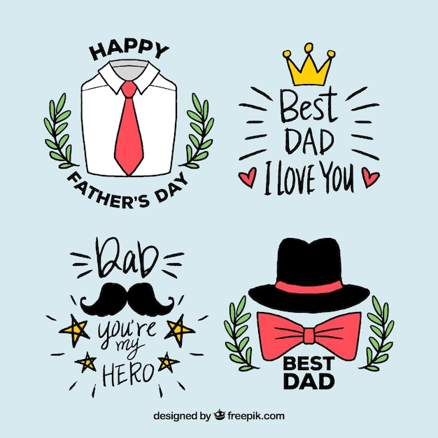 Fête des pères badges collection dans le style dessiné à la main Vecteur gratuit
