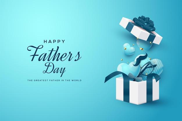 Fête Des Pères Avec Une Boîte Cadeau Ouverte Contenant Des Ballons D'amour 3d. Vecteur Premium