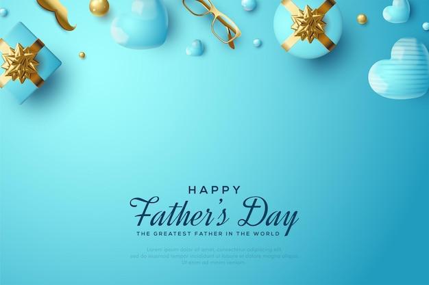 Fête Des Pères Avec Un Coffret Cadeau, Des Lunettes Dorées Et Une Moustache Dorée. Vecteur Premium