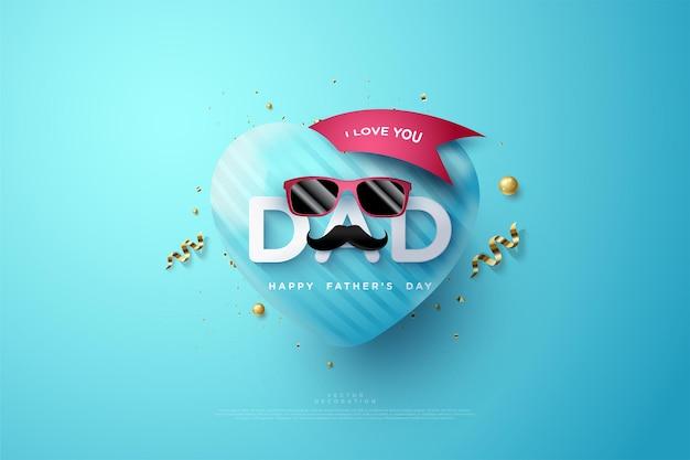 Fête Des Pères Avec L'écriture Je T'aime Papa Et Avec Des Lunettes Rouges. Vecteur Premium