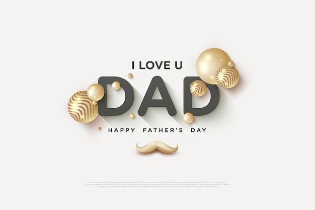 Fête Des Pères Avec Une écriture Luxueuse En Noir Et Or. Vecteur Premium