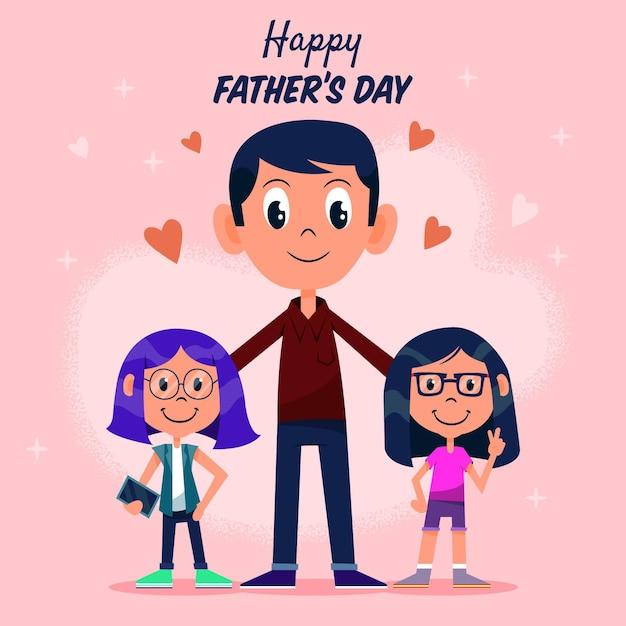 Fête Des Pères Fond Dessiné à La Main Vecteur gratuit