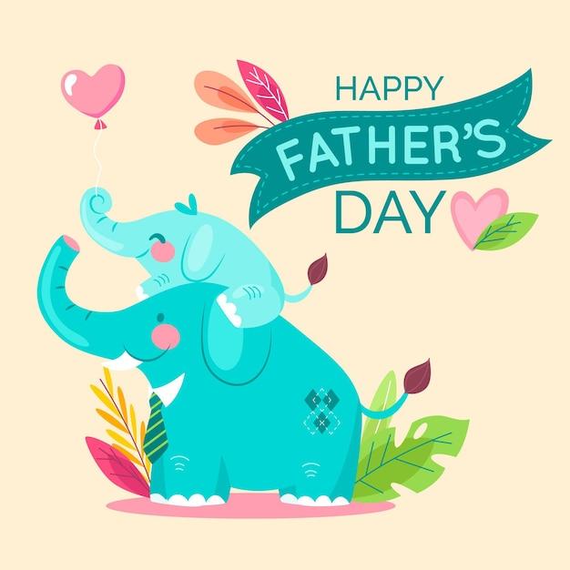 Fête Des Pères Heureux Avec Les éléphants Vecteur gratuit