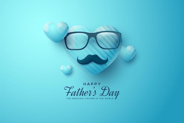 Fête Des Pères Avec Une Illustration De Ballon, Des Lunettes Et Une Moustache. Vecteur Premium