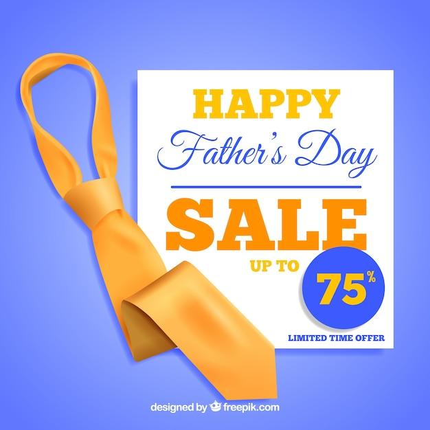 Fête des pères modèle de vente avec une cravate réaliste Vecteur gratuit
