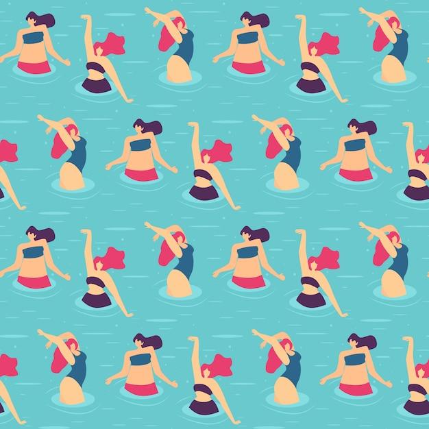 Fête de piscine active femme transparente motif plat Vecteur Premium
