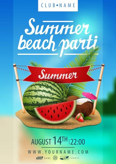 Fête de plage d'été Vecteur Premium