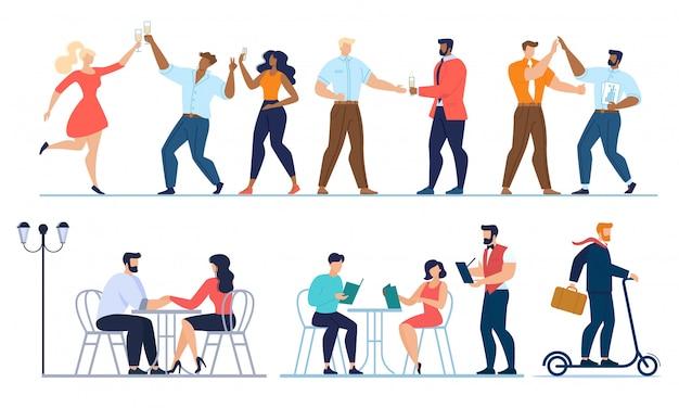 Fête, rencontres, ensemble de travail Vecteur Premium