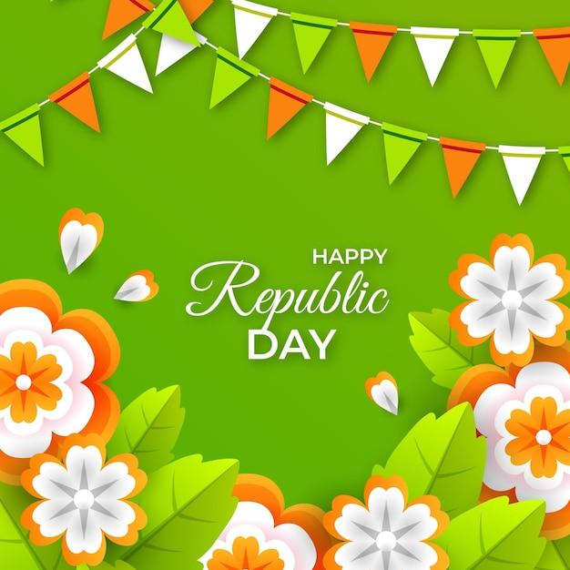 Fête De La République Indienne En Papier Vecteur gratuit