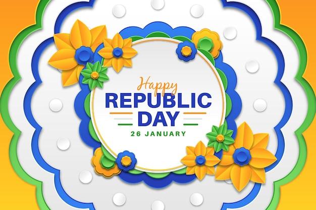 Fête De La République En Papier Vecteur gratuit