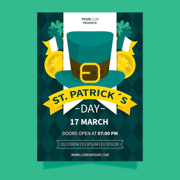 Fête De La Saint-patrick Avec Chapeau Haut De Forme Irlandais Et Rubans Vecteur gratuit