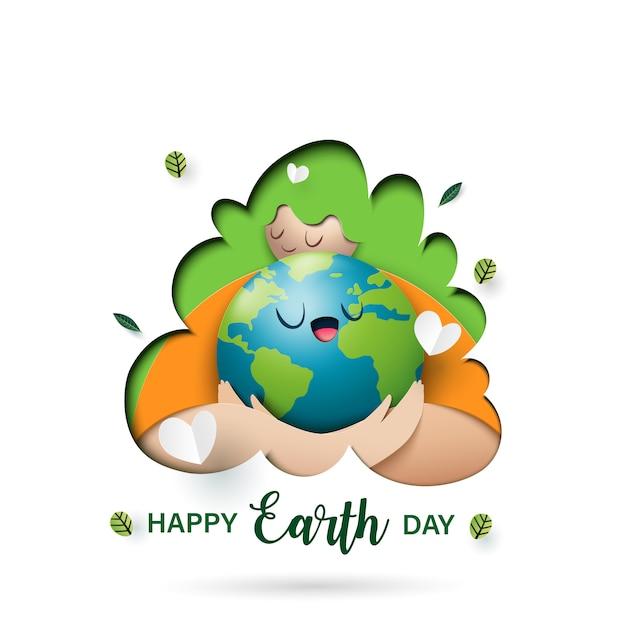 Fête de la terre et style d'art concept de concept écologique Vecteur Premium